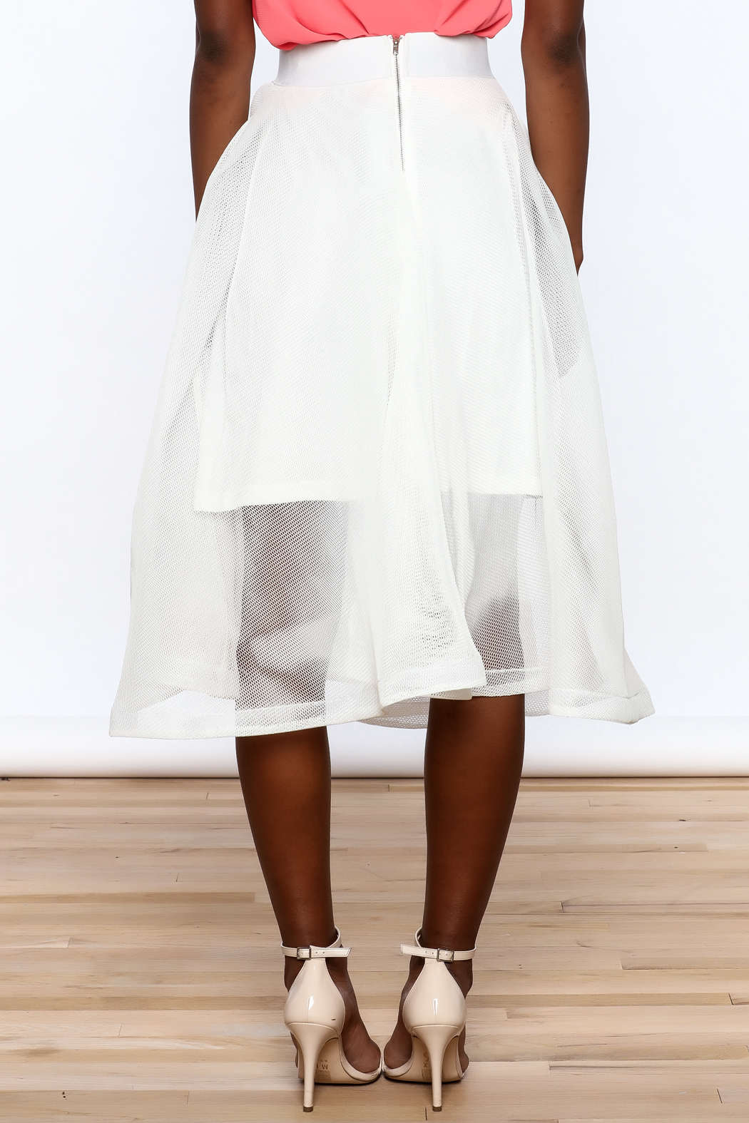 Ina White Mesh Skirt - Back Cropped Image
