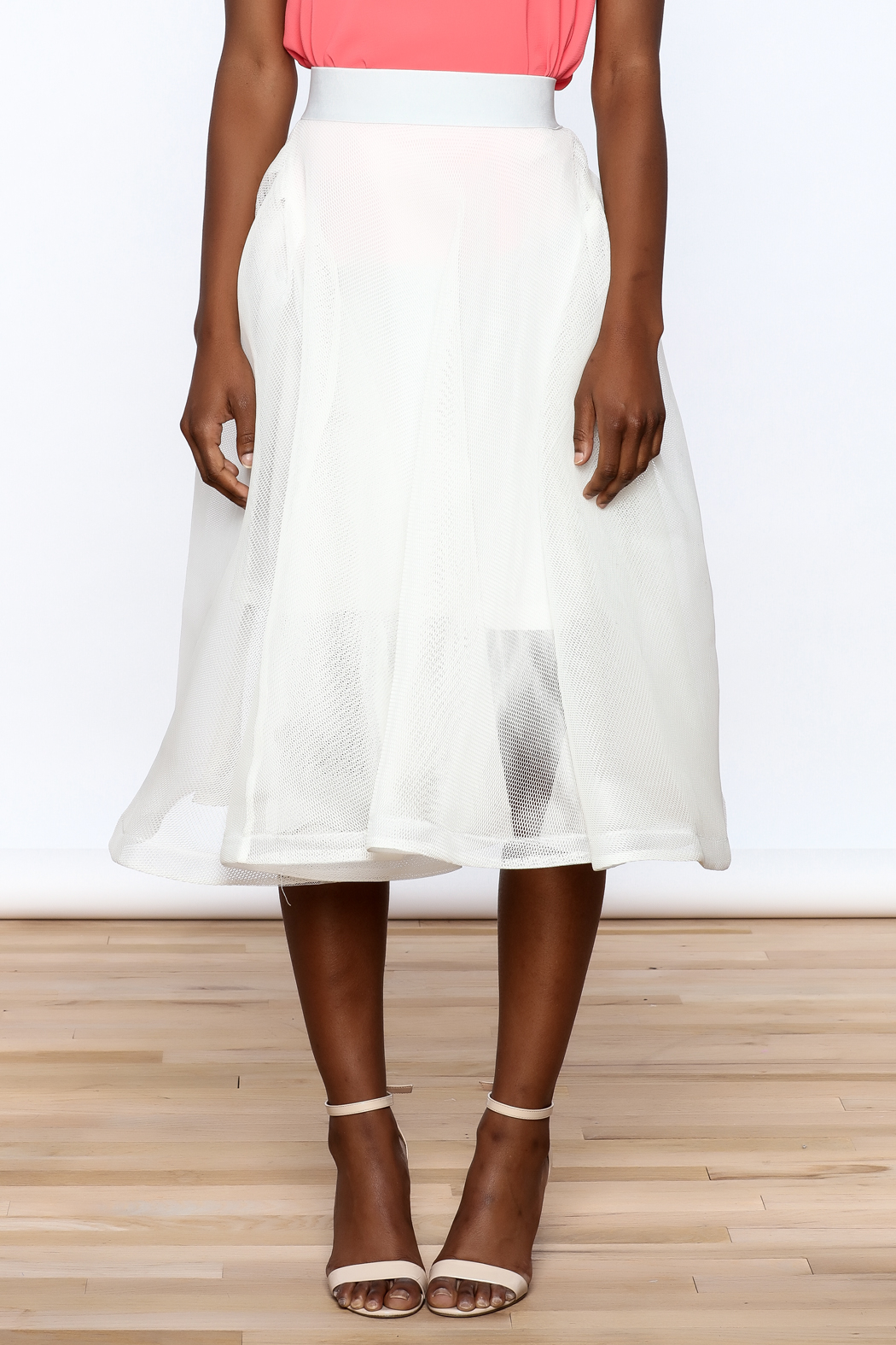 Ina White Mesh Skirt - Side Cropped Image