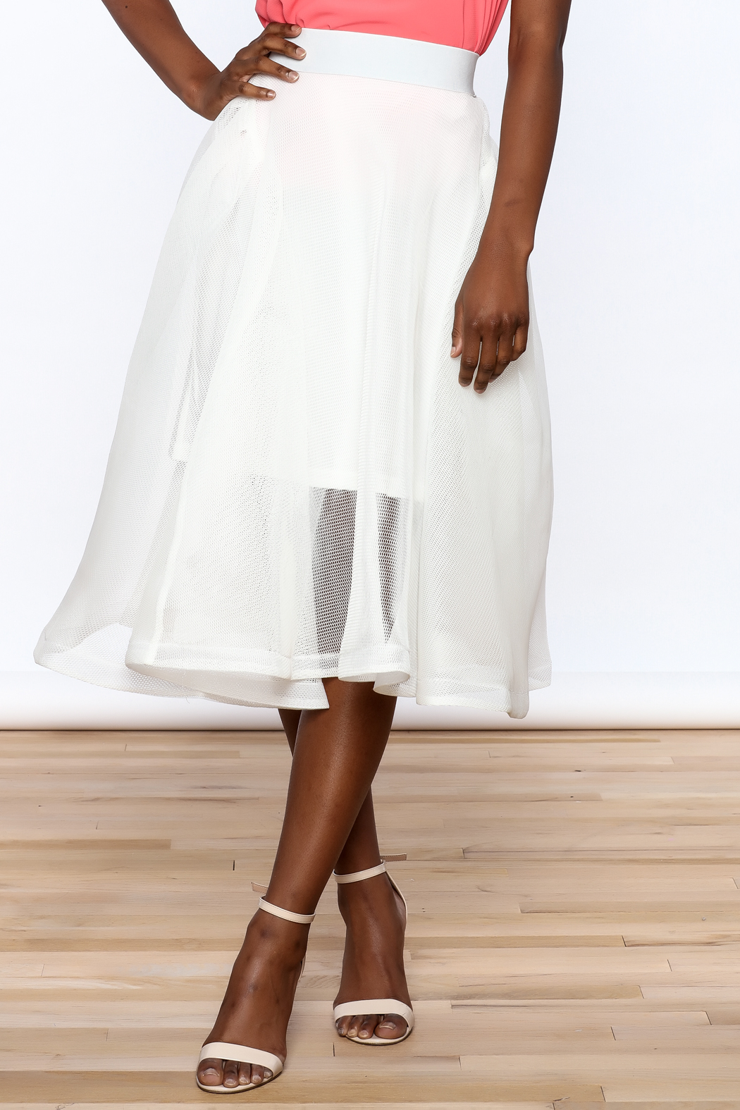 Ina White Mesh Skirt - Main Image