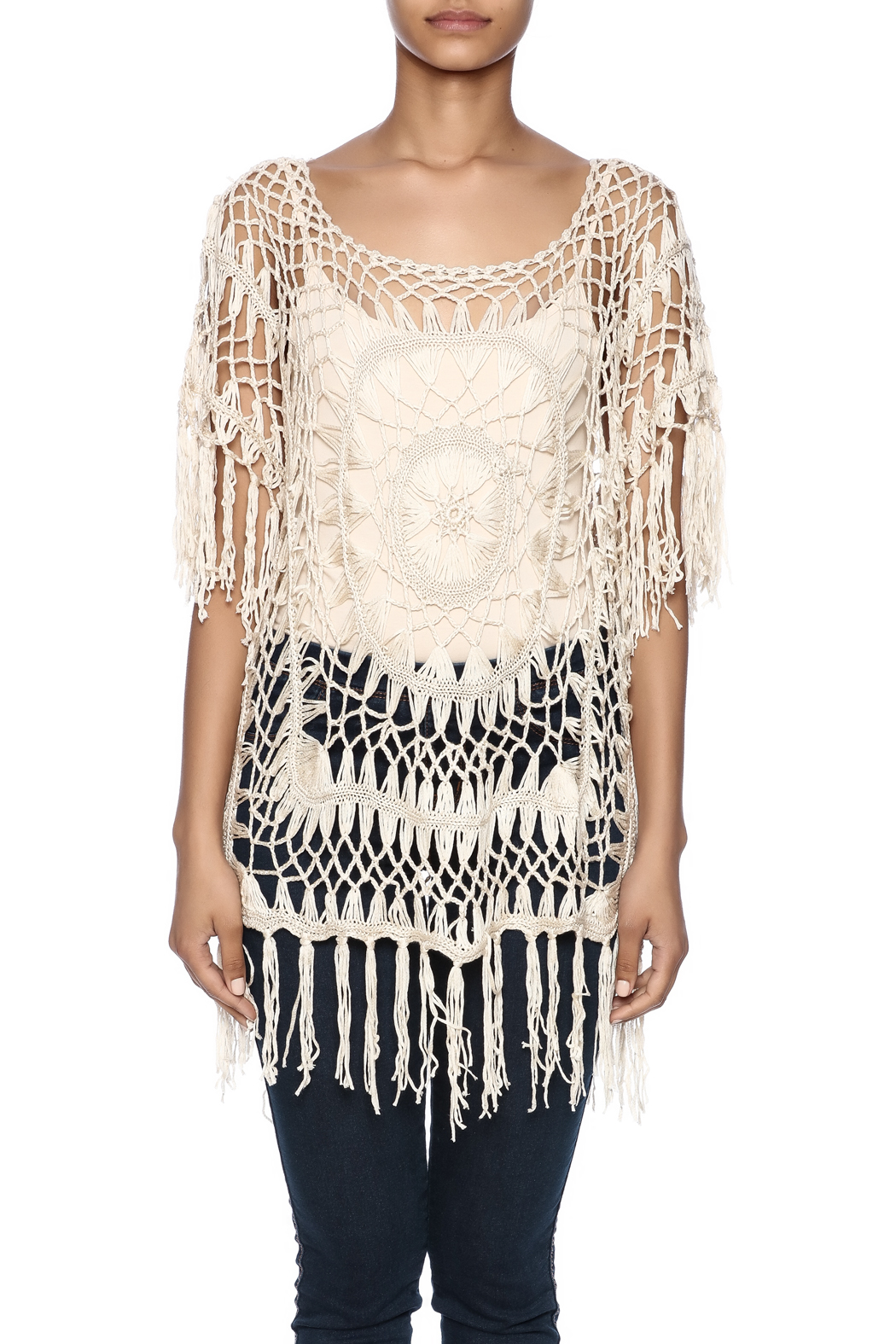 India Boutique Exquisite Crochet Top - Side Cropped Image