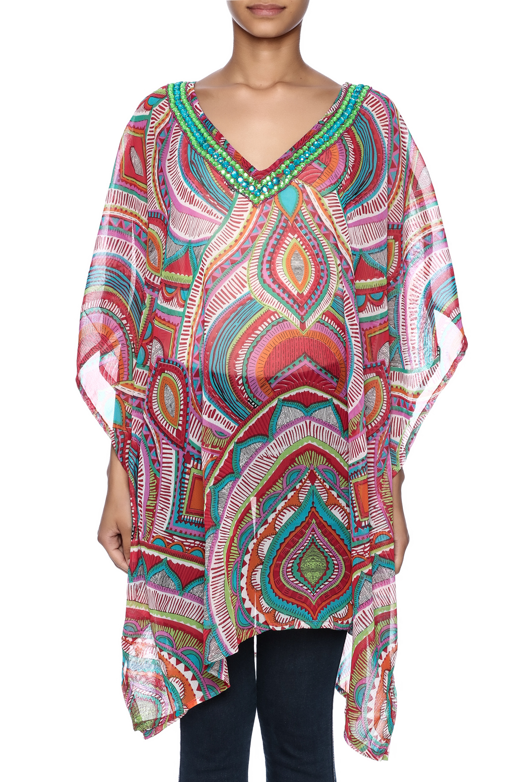 India Boutique Fabulous Cover Up Caftan - Side Cropped Image