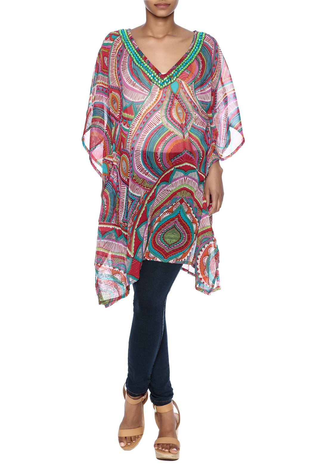 India Boutique Fabulous Cover Up Caftan - Front Full Image
