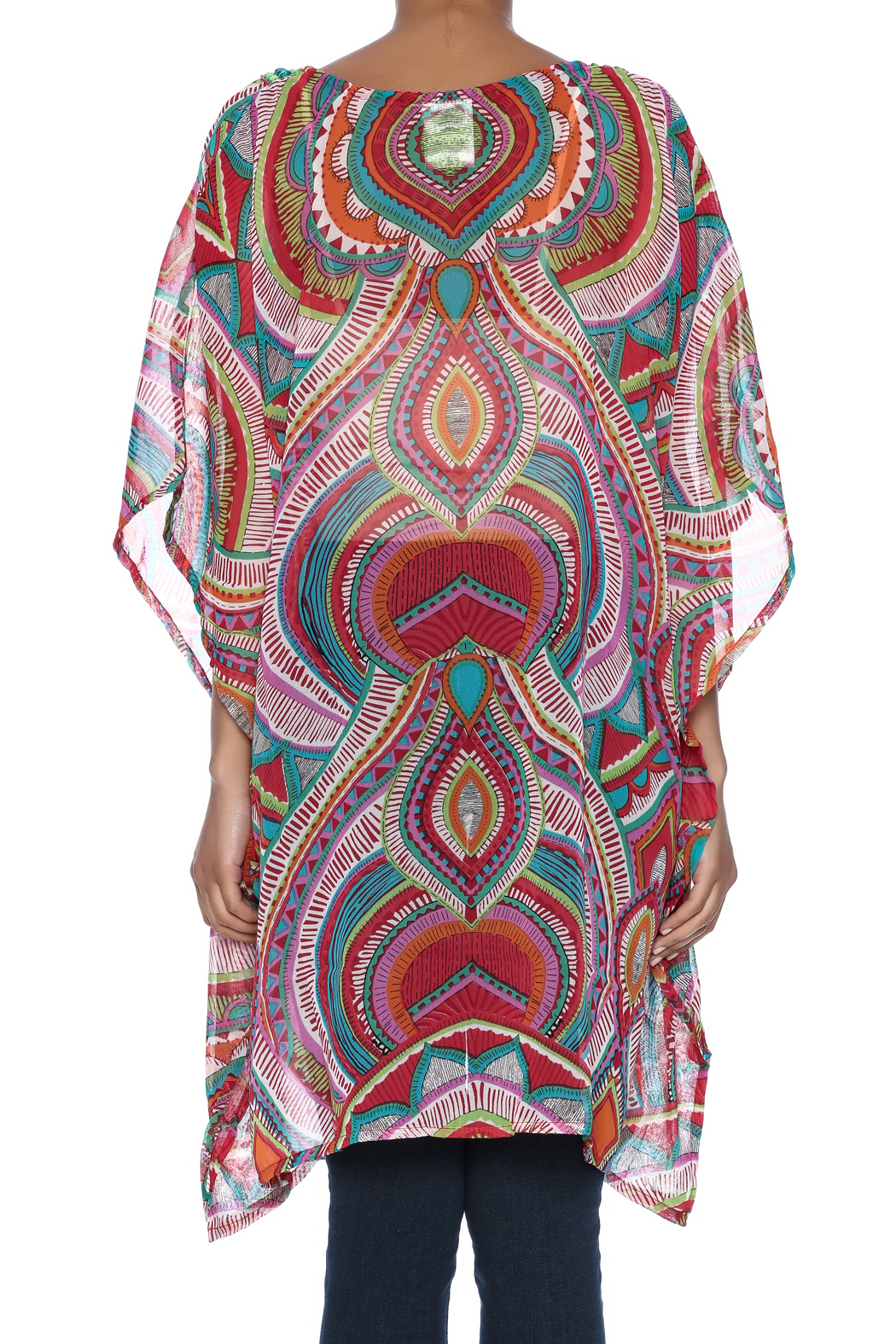 India Boutique Fabulous Cover Up Caftan - Back Cropped Image