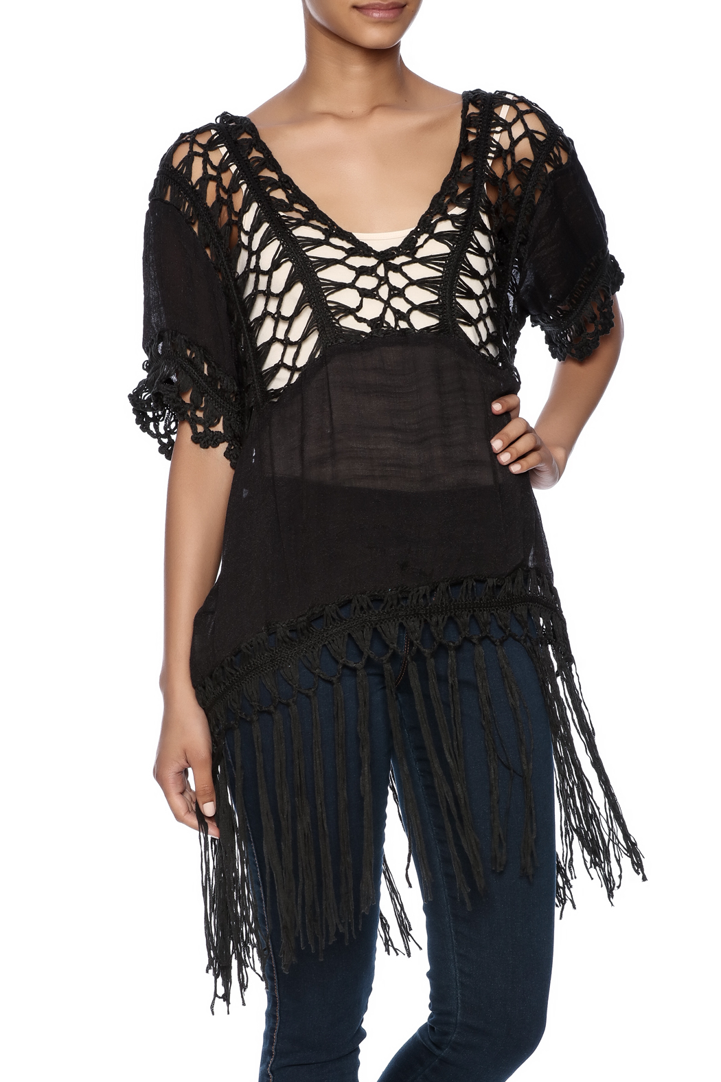 India Boutique Sexy Crochet Top - Front Cropped Image