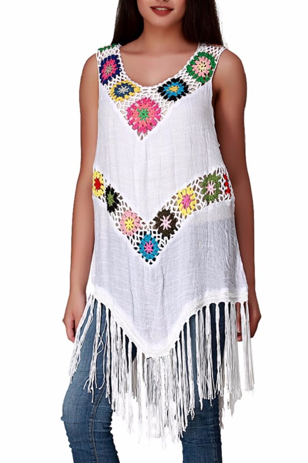 India Boutique Crochet Coverup Blouse - Front Cropped Image