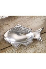 India Handicrafts Aluminum Fish Soap Dish - Front cropped