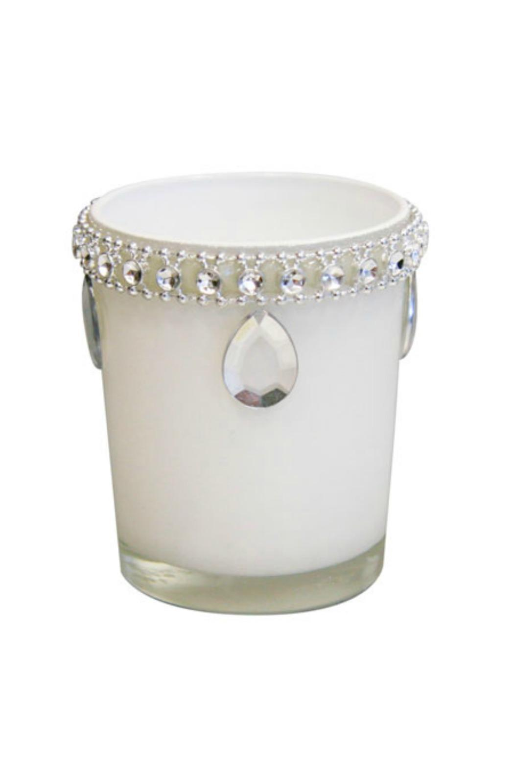 India Handicrafts White Jeweled Votive - Main Image