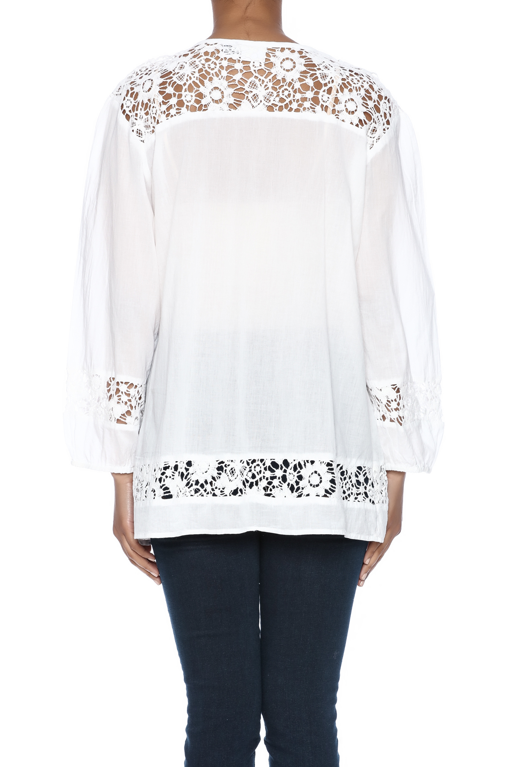 Indian Tropical Comfortable White Blouse - Back Cropped Image
