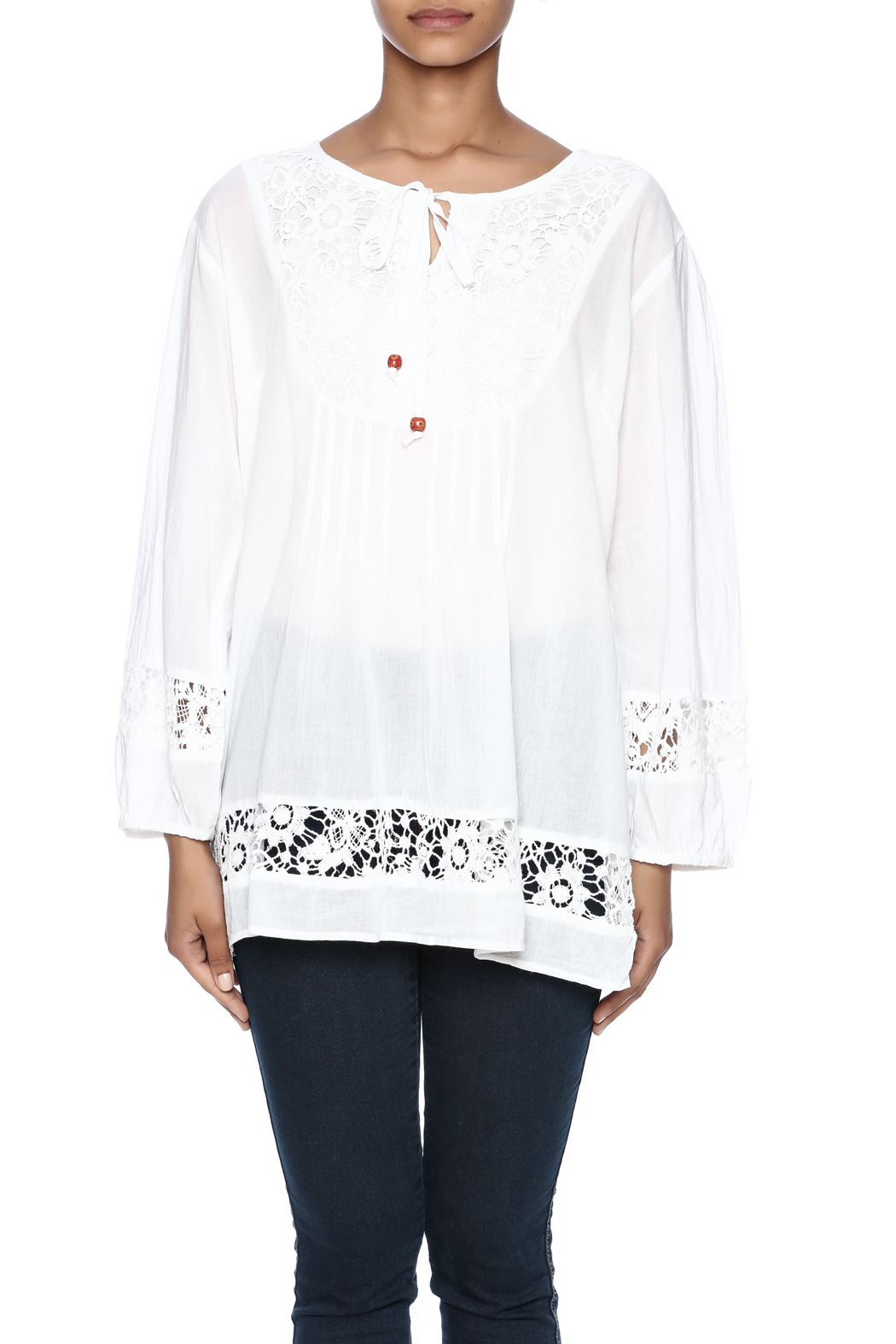 Indian Tropical Comfortable White Blouse - Side Cropped Image