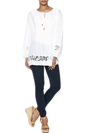 Indian Tropical Comfortable White Blouse - Front full body