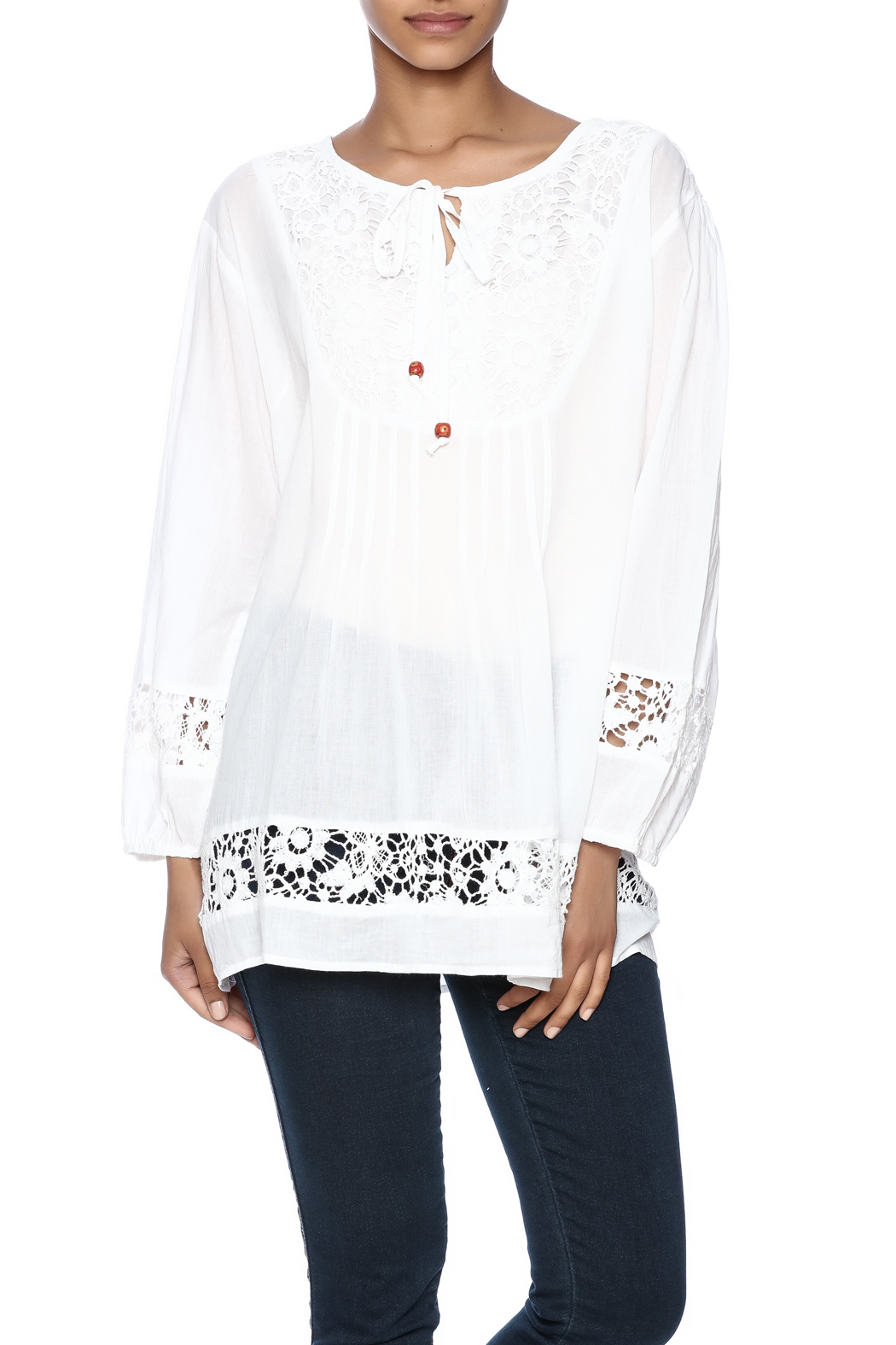 Indian Tropical Comfortable White Blouse - Main Image