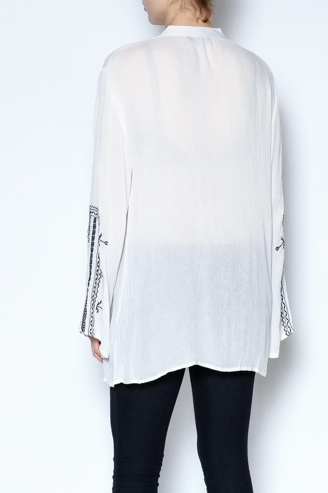 Indian Tropical Embroidered Tassel Tunic - Back Cropped Image