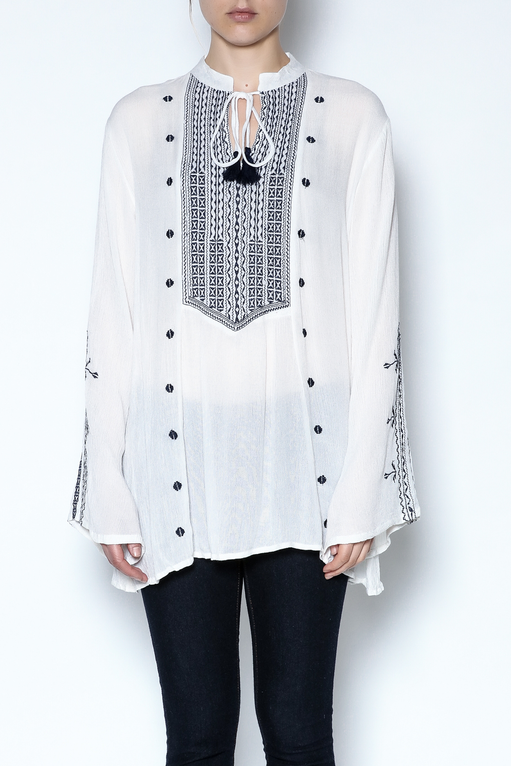 Indian Tropical Embroidered Tassel Tunic - Main Image