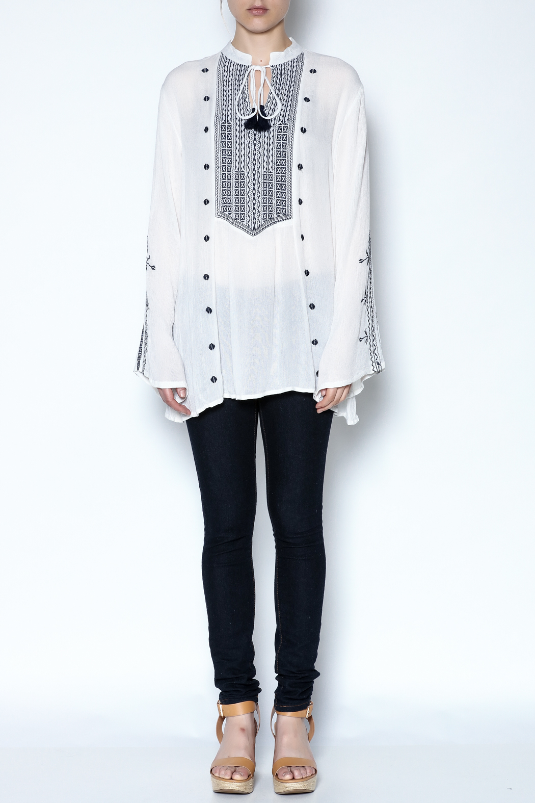 Indian Tropical Embroidered Tassel Tunic - Front Full Image