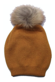 Virginia Wolf INDIE FAUX FUR POM POM HAT - Front cropped
