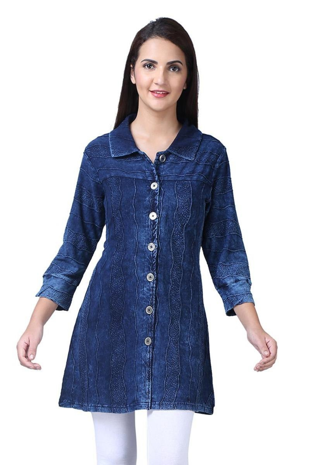 Parsley & Sage Indigo Button-Up Tunic - Front Cropped Image