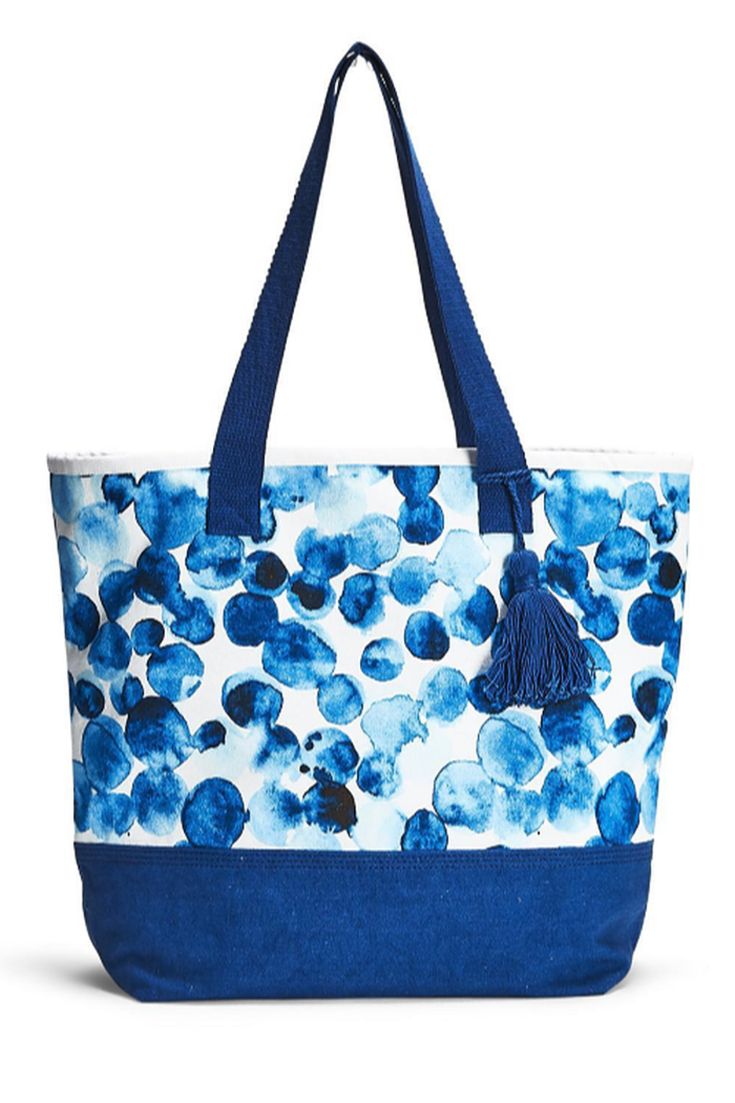Two's Company Indigo Canvas Tote - Front Cropped Image
