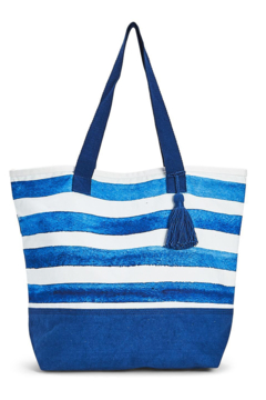 Two's Company Indigo Canvas Tote - Alternate List Image