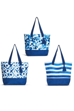 Two's Company Indigo Canvas Tote - Product List Image