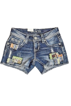 Grace in L.A. Indigo Patch Shorts - Product List Image