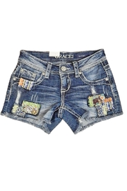 Grace in L.A. Indigo Patch Shorts - Product Mini Image