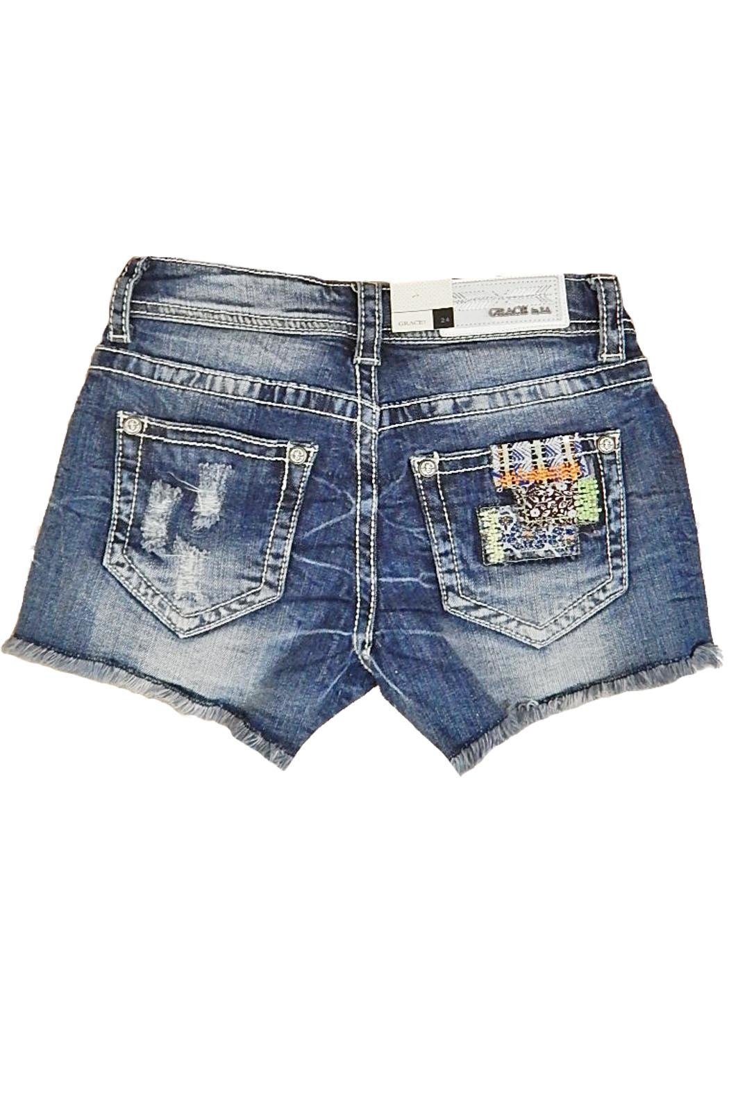 Grace in L.A. Indigo Patch Shorts - Front Full Image