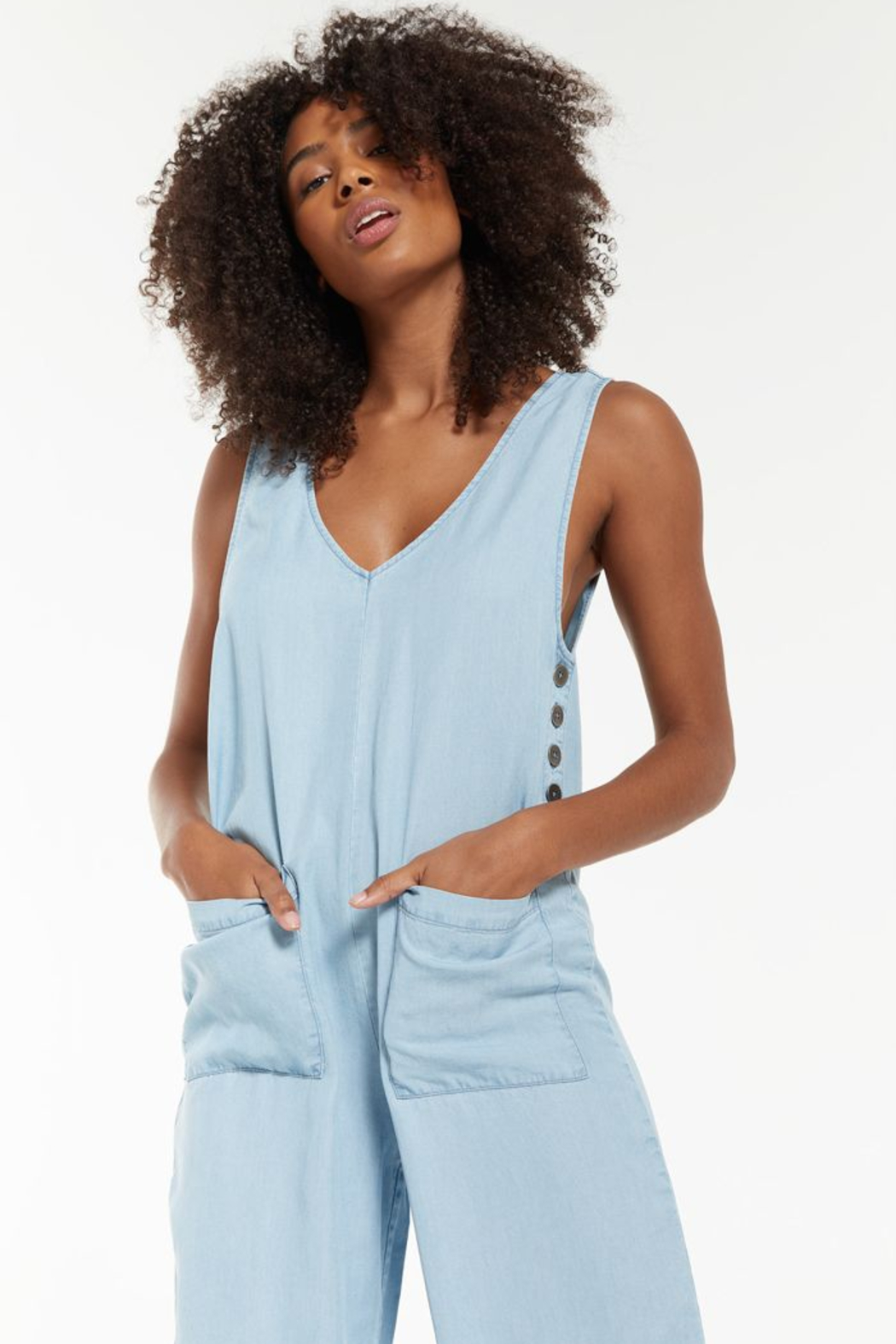 z supply Indigo Relaxed Jumpsuit - Front Full Image