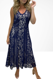 Reba Style Indigo Sky Navy Lace Dress - Product Mini Image