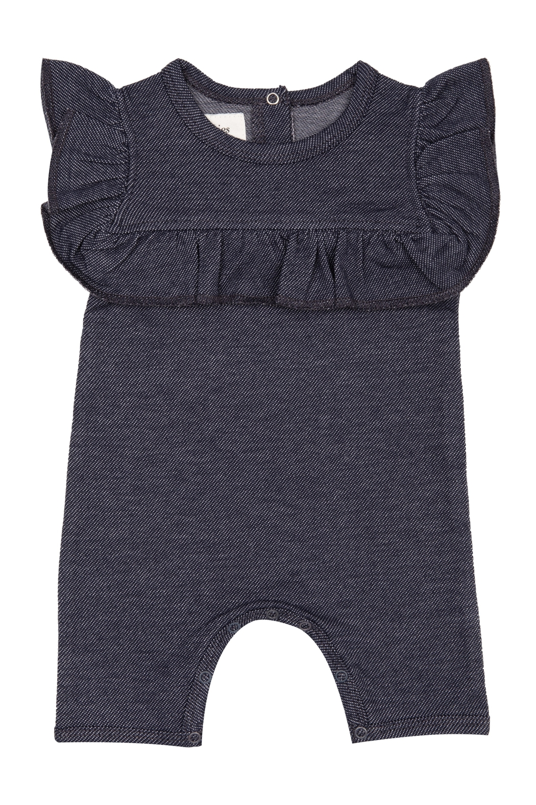 ANTEBIES INFANT DENIM KNIT ROMPER WITH SHOULDER RUFFLES - Front Cropped Image