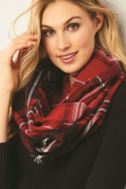 Gift Craft Infinity Plaid Scarf - Front full body