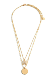 Garden Party Initial/Gold Pendant Layer Necklace - Product Mini Image