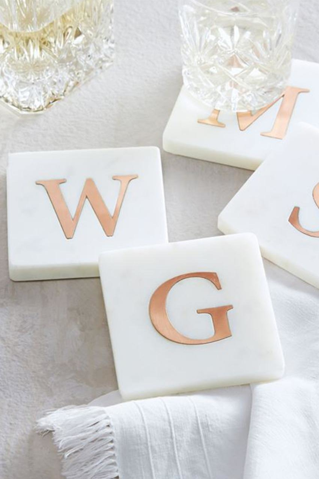 Lets Accessorize Initial Marble-Copper Coasters - Side Cropped Image