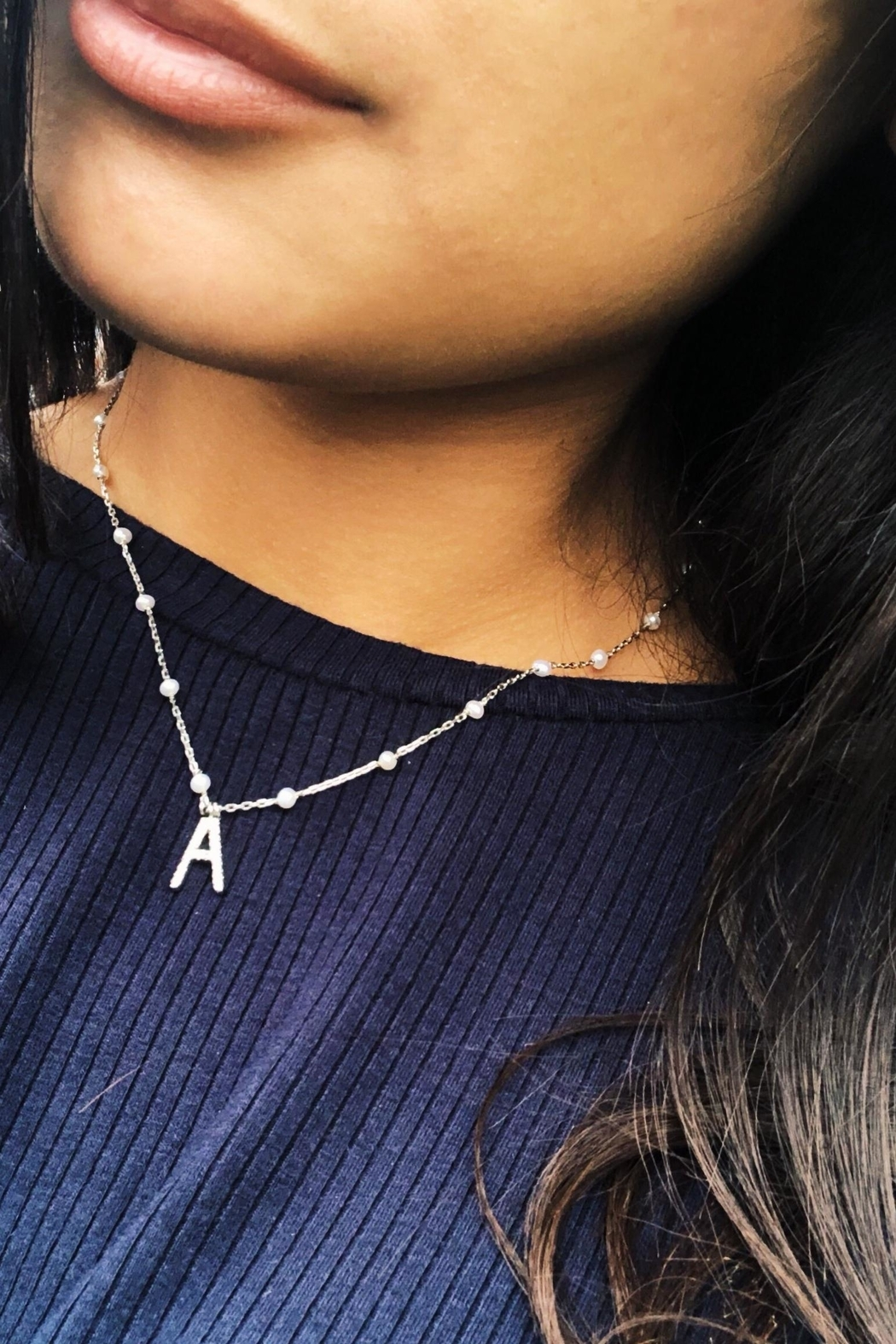 Lets Accessorize Initial Pearl-diamond Necklace - Front Full Image
