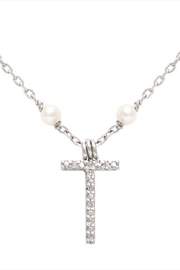 Lets Accessorize Initial Pearl-diamond Necklace - Other