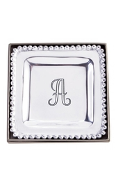MudPie Initial Trinket Silver Tray - Front cropped