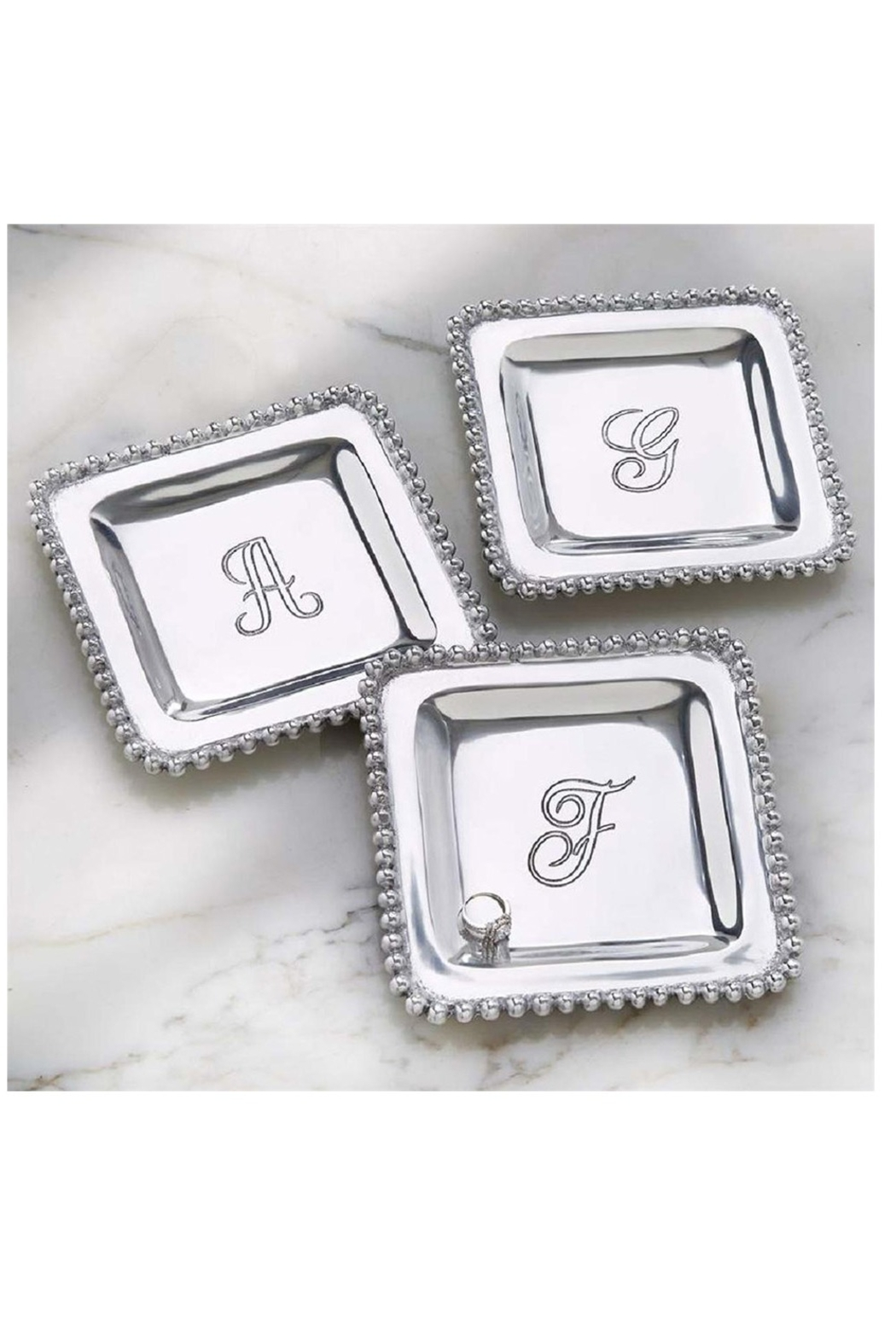 MudPie Initial Trinket Silver Tray - Front Full Image