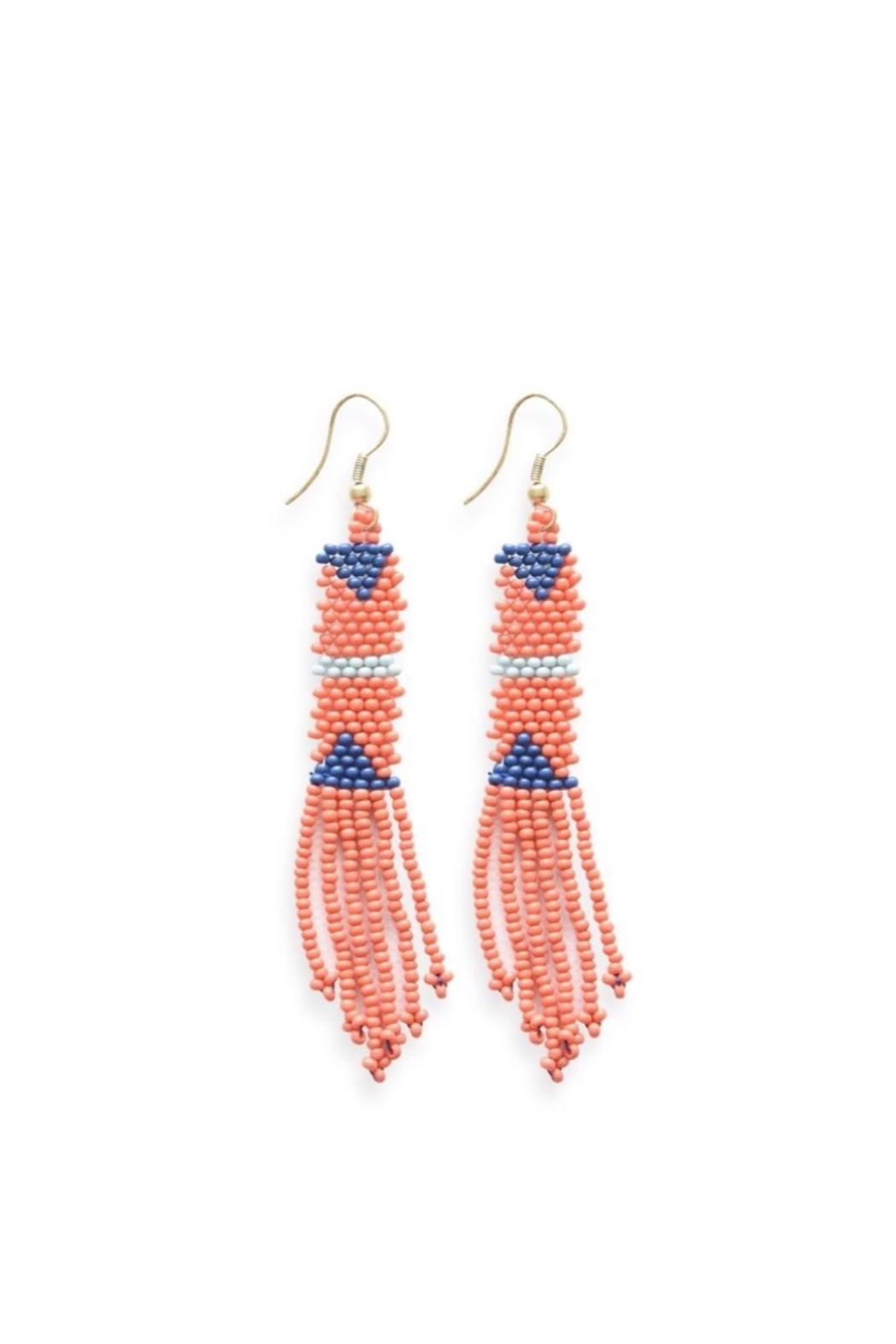 Ink + Alloy Coral Petite Fringe Bead Earrings - Front Cropped Image