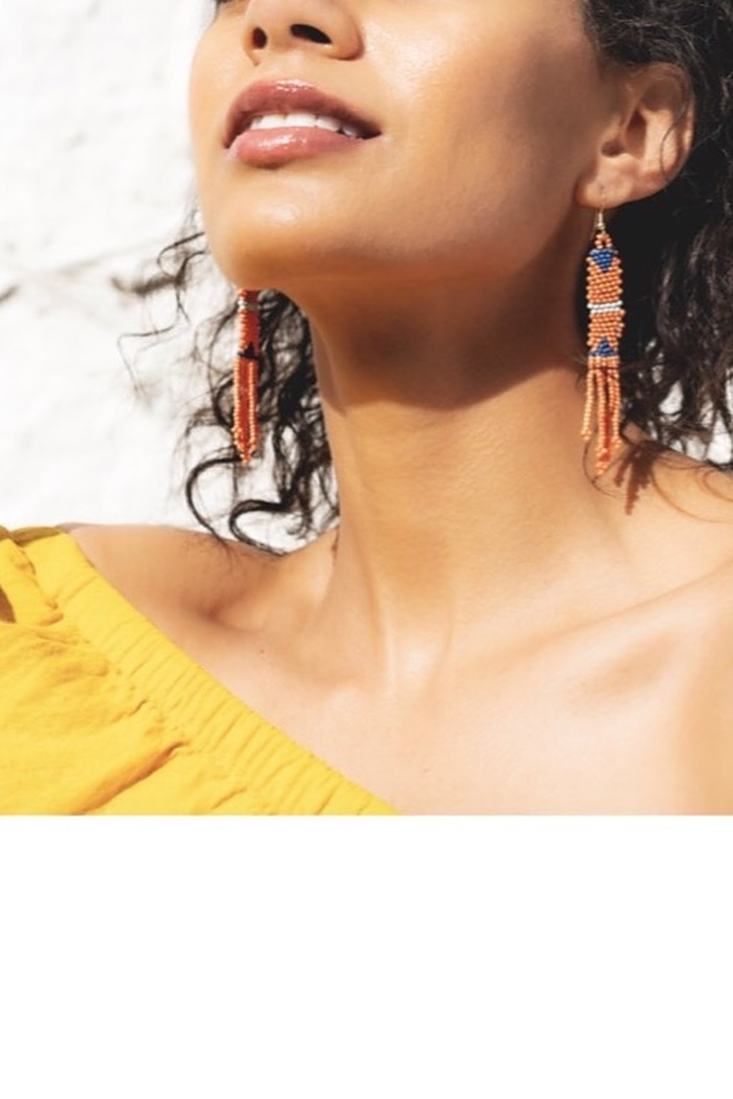 Ink + Alloy Coral Petite Fringe Bead Earrings - Front Full Image
