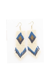 Ink + Alloy Lapis Fringe Beaded Earrings - Product Mini Image
