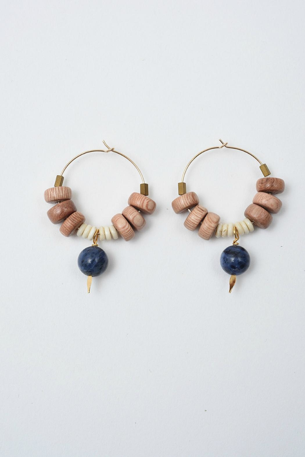 Ink + Alloy Sodalite Rosewood Hoops - Main Image