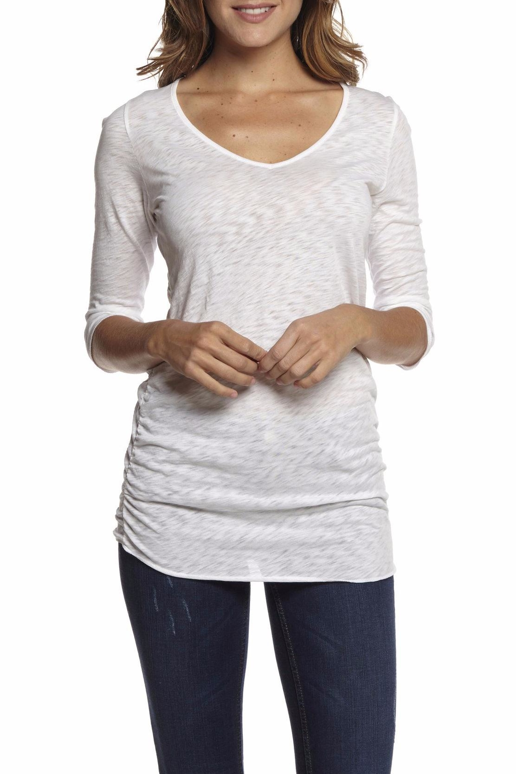 Inner Shine Gathered V Neck Tee - Front Cropped Image