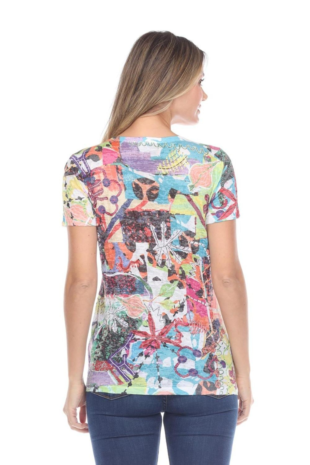 Inoah Abstract Burnout Top - Front Full Image