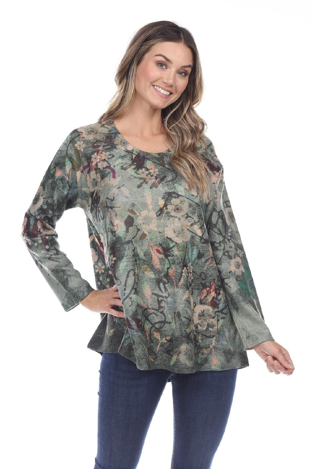 Inoah Green Floral Top - Front Cropped Image