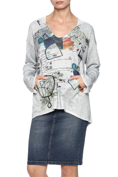 Shoptiques Product: Grey Abstract Hoodie