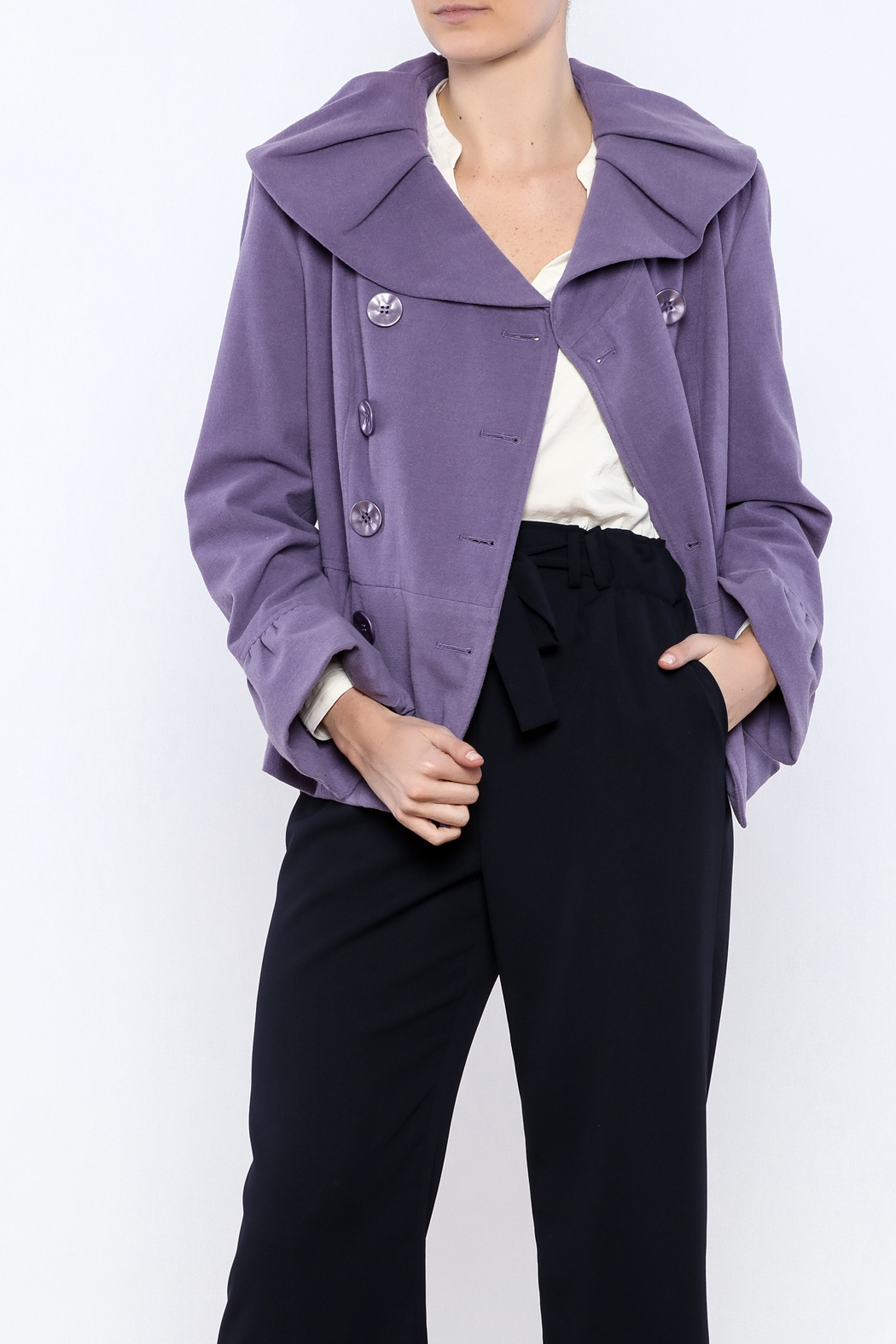 INSIGHT NYC Lavender Peacoat - Front Cropped Image