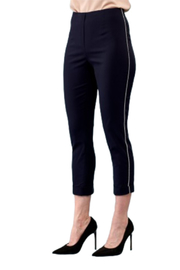INSIGHT NYC Navy Crop Pant With Silver Pinstripe - Product Mini Image