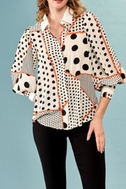 INSIGHT NYC Polka Dot Stripe Blouse - Product Mini Image