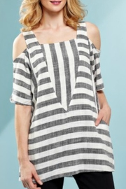 INSIGHT NYC Stripe Cold-Shoulder Top - Product Mini Image