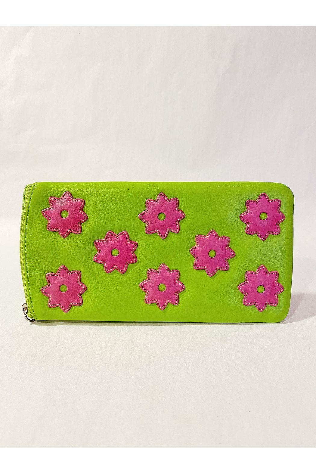 International Leather Industries Hot Pink & Green Flower Eyeglass Case - Front Cropped Image