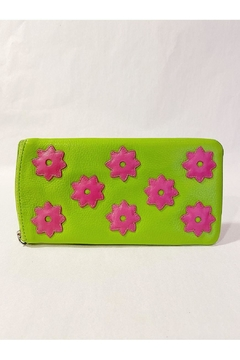 International Leather Industries Hot Pink & Green Flower Eyeglass Case - Alternate List Image